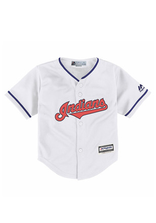 Cleveland Indians Baby White Cool Base Home Baseball Jersey