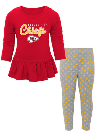 Kansas City Chiefs Toddler Girls Red Tiny Trainer Top and Bottom