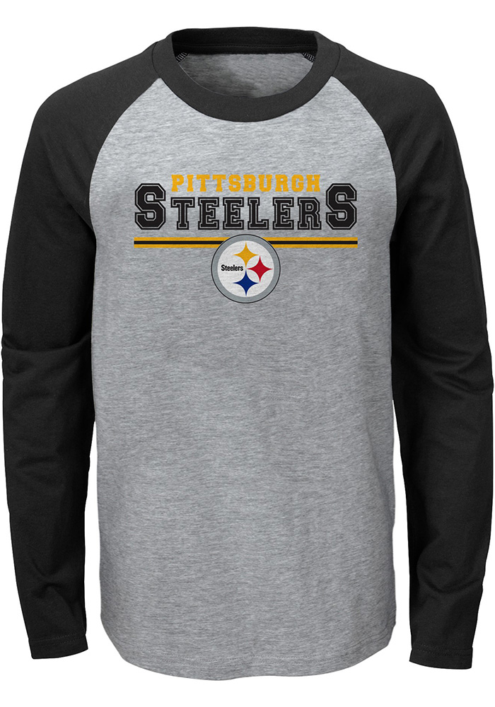 Pittsburgh steelers toddler grey field line long sleeve t for Pittsburgh t shirt printing