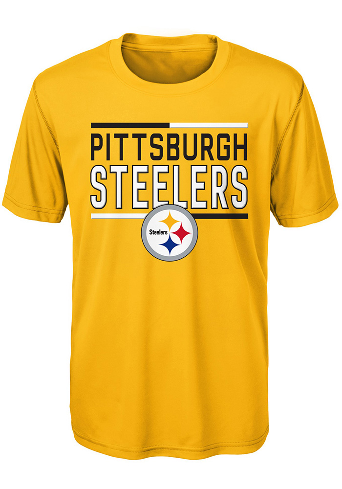 huge selection of d7200 a4f9b Pittsburgh Steelers Youth Gold Flag Runner Short Sleeve T-Shirt