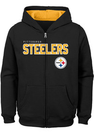 Pittsburgh Steelers Youth Black Stated Full Zip Jacket