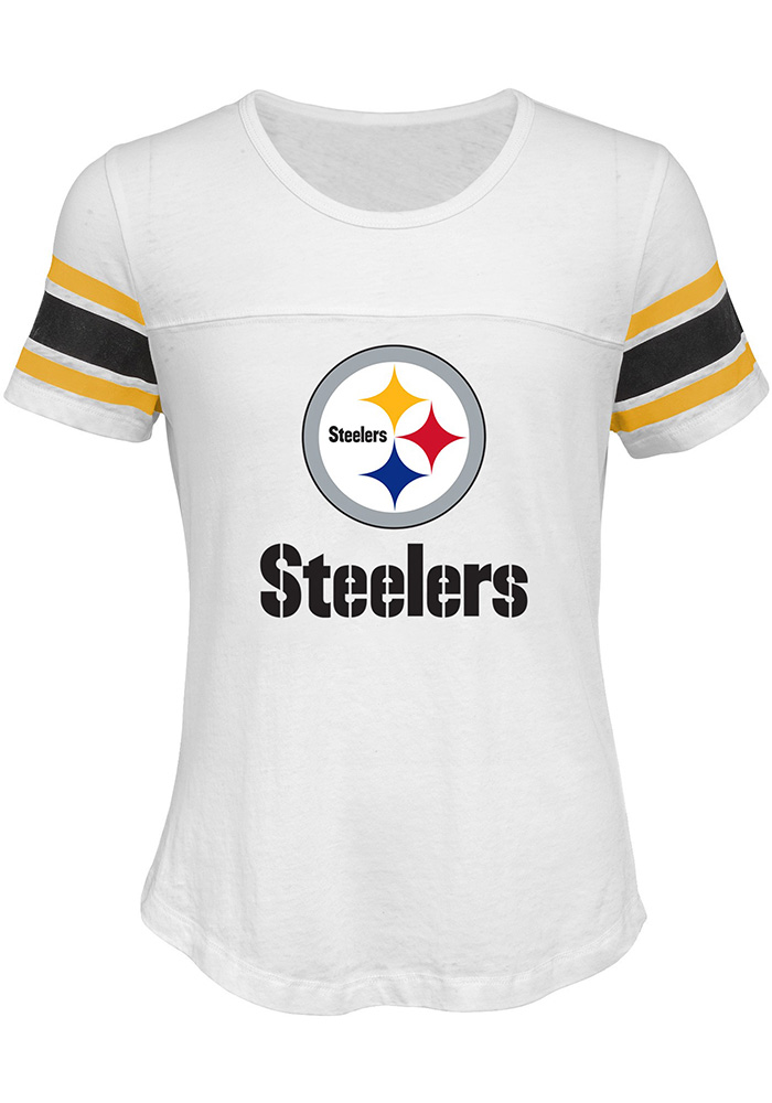 fc37010a1a6 Pittsburgh Steelers Girls White Team Pride Short Sleeve Fashion T-Shirt -  Image 1