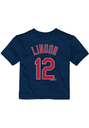 Francisco Lindor Cleveland Indians Outer Stuff Navy Blue Name and number Short Sleeve T-Shirt