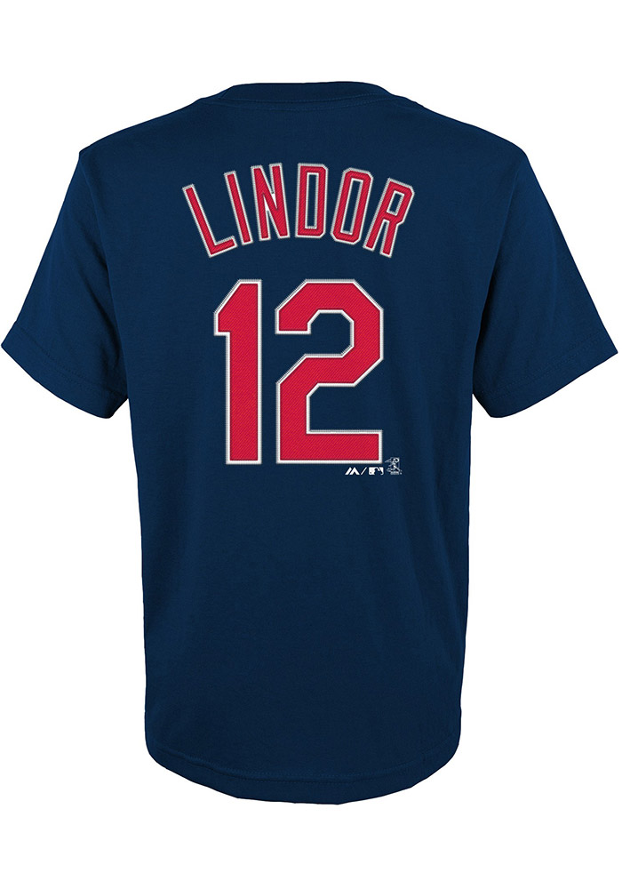 Francisco Lindor Cleveland Indians Youth Navy Blue Name and number Player Tee - Image 1