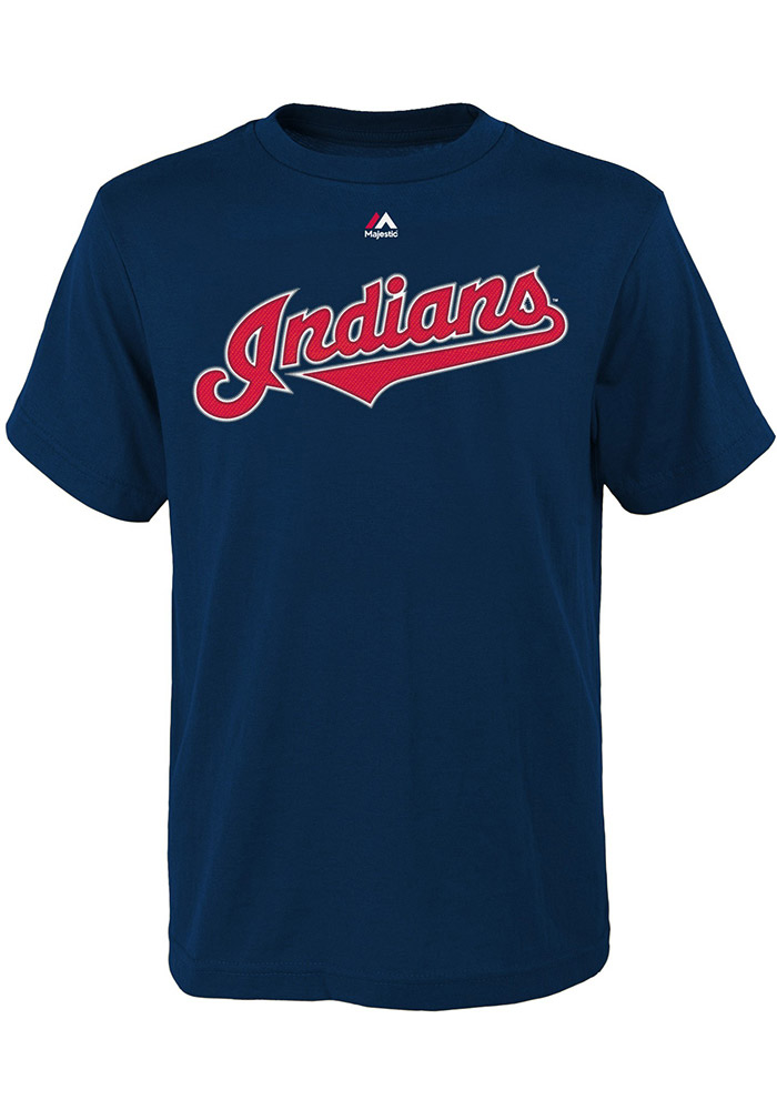 Francisco Lindor Cleveland Indians Youth Navy Blue Name and number Player Tee - Image 2