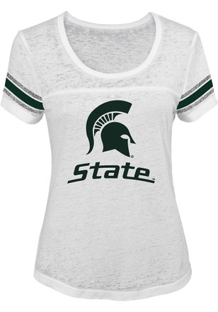Michigan State Spartans Womens White Out White Scoop T-Shirt