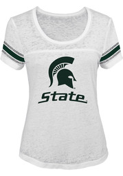 Michigan State Junior Fit Juniors White Out White Scoop T-Shirt
