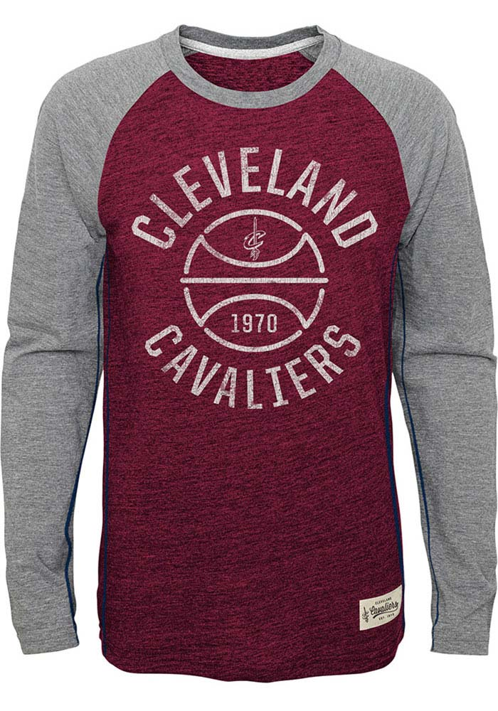 Cleveland Cavaliers Youth Red Basketball Roots Long Sleeve Fashion T-Shirt - Image 1