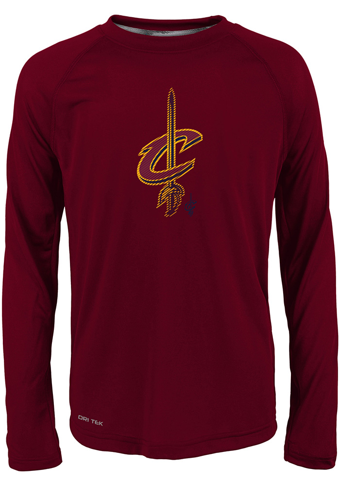 Cleveland Cavaliers Youth Red Motion Offense Long Sleeve T-Shirt - Image 1
