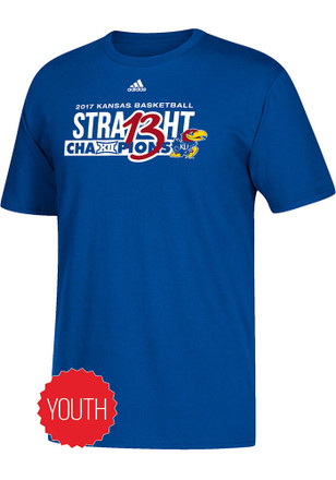 Kansas Jayhawks Kids Blue 2017 Big 12 Champions On Court T-Shirt