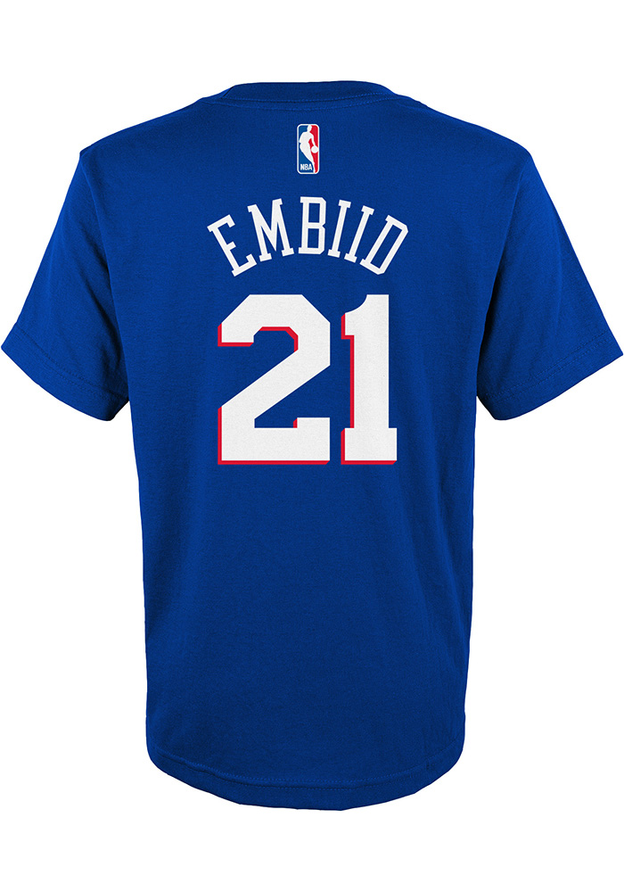 Joel Embiid Philadelphia 76ers Youth Blue Player Player Tee - Image 1
