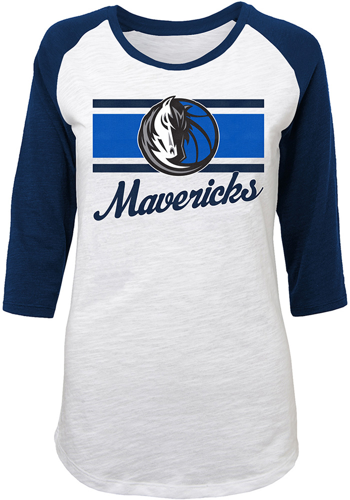 Dallas Mavericks Juniors White Raglan Slub Long Sleeve Crew T-Shirt - Image 1