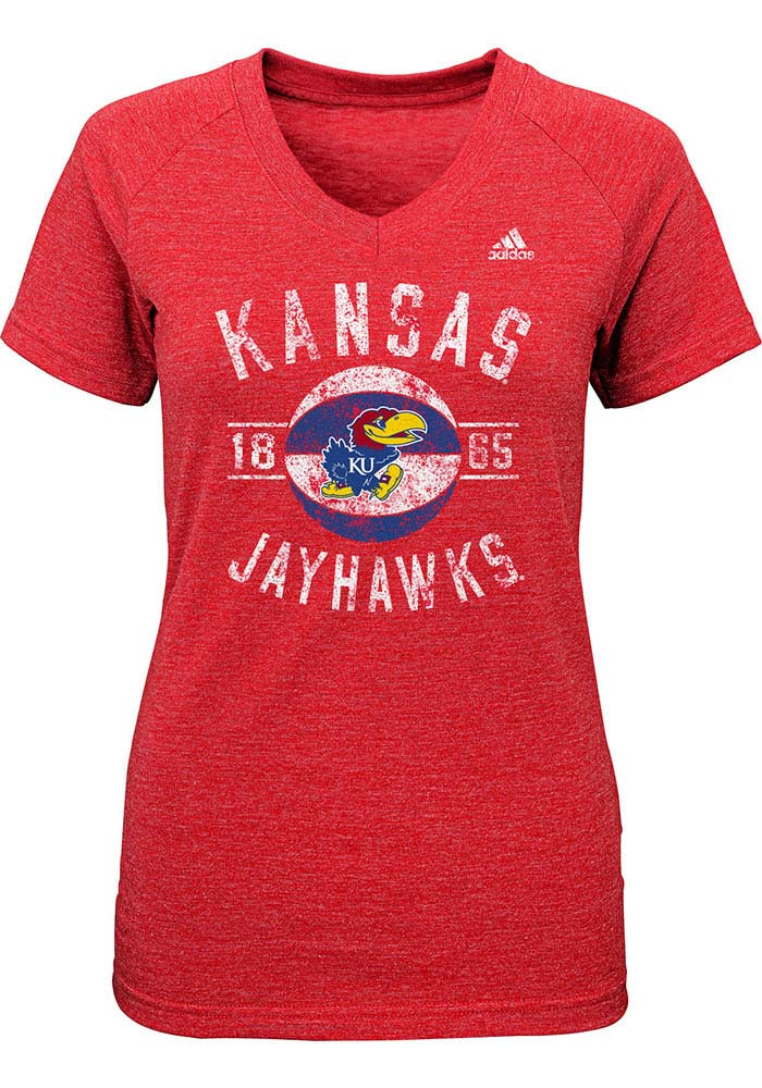 Kansas Jayhawks Girls Red Middle Short Sleeve Fashion T-Shirt - Image 1