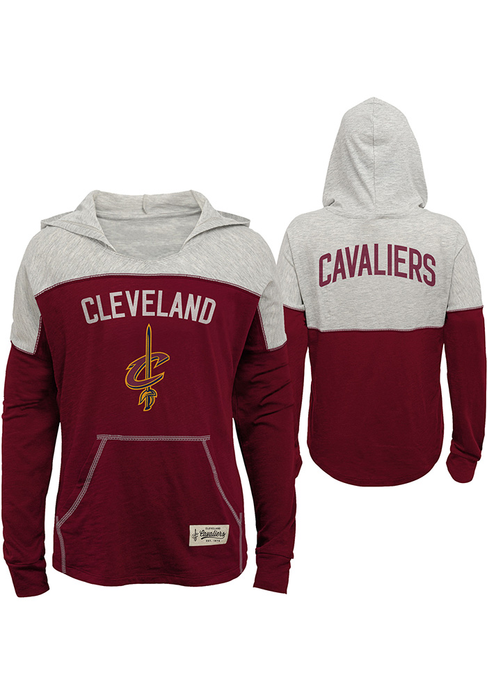 Cleveland Cavaliers Girls Red Preseason Long Sleeve Hooded Sweatshirt - Image 1