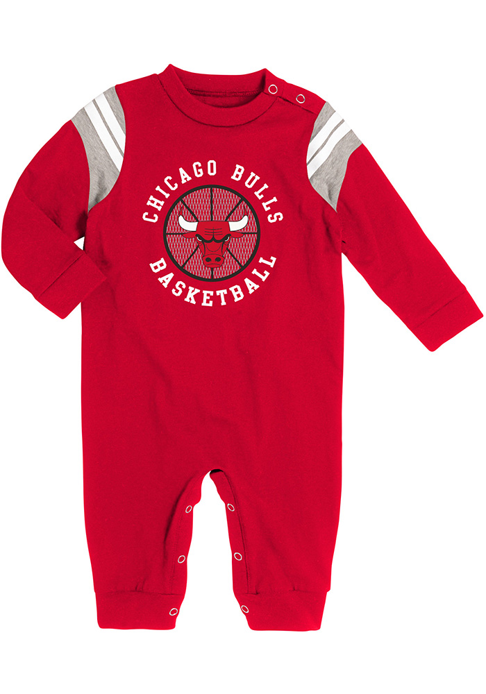 Chicago Bulls Baby Red Referee Long Sleeve Creeper - Image 1