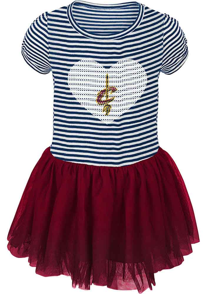 Cleveland Cavaliers Toddler Girls Red Sequins Short Sleeve Dresses - Image 1