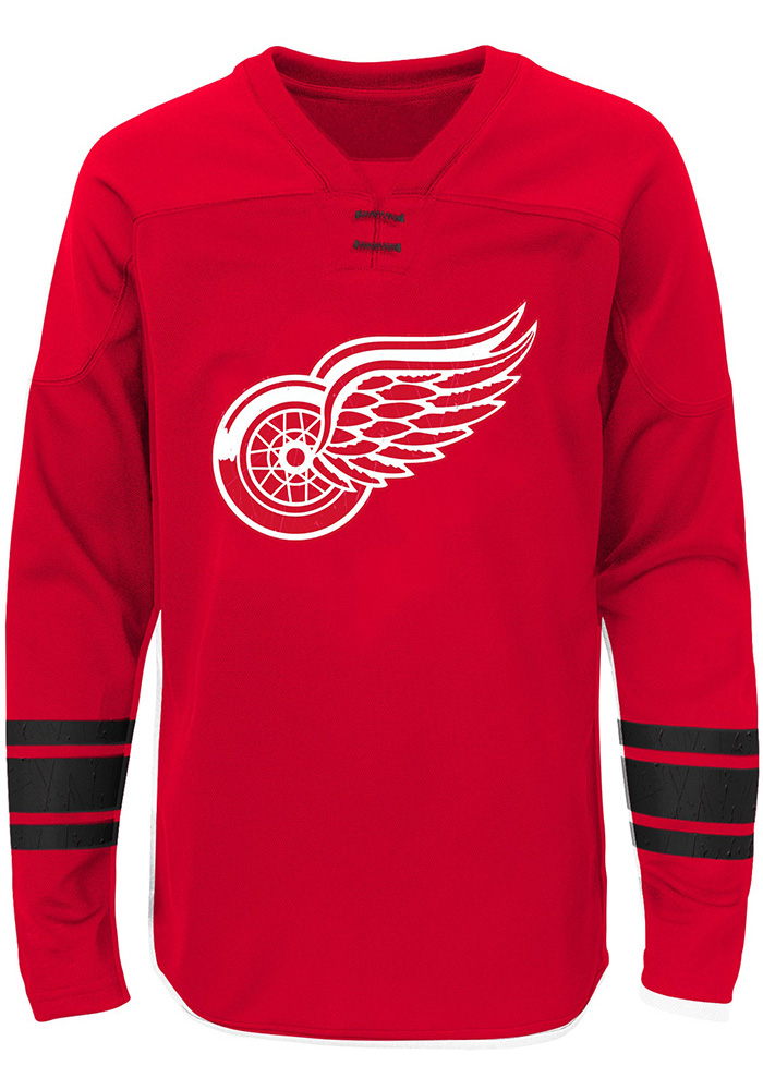 Detroit Red Wings Boys Red Shattered Ice Long Sleeve Crew Sweatshirt, Red, 100% POLYESTER, Size 7