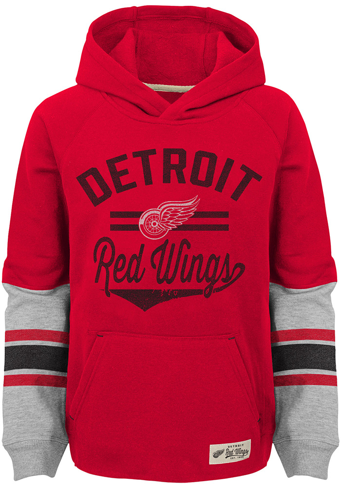 Detroit Red Wings Boys Red Heroic Long Sleeve Hooded Sweatshirt - Image 1