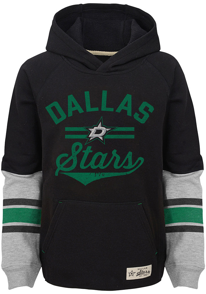 Dallas Stars Boys Black Heroic Long Sleeve Hooded Sweatshirt - Image 1