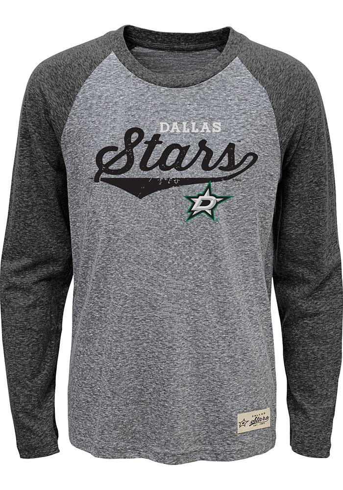 Dallas Stars Boys Grey Hockey Roots Long Sleeve Fashion T-Shirt - Image 1