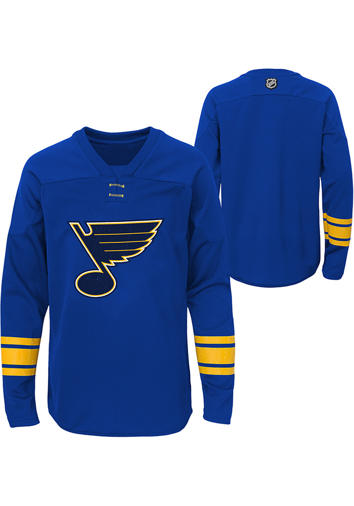 St Louis Blues Youth Navy Blue Shattered Ice Long Sleeve Crew Sweatshirt - Image 1