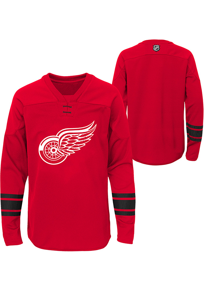 Detroit Red Wings Youth Red Shattered Ice Long Sleeve Crew Sweatshirt - Image 1