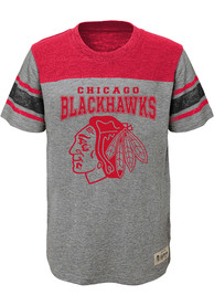 Chicago Blackhawks Youth Grey Heritage Fashion Tee