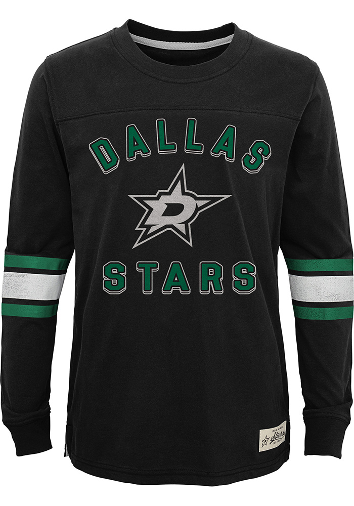 Dallas Stars Youth Black Historical Long Sleeve T-Shirt - Image 1