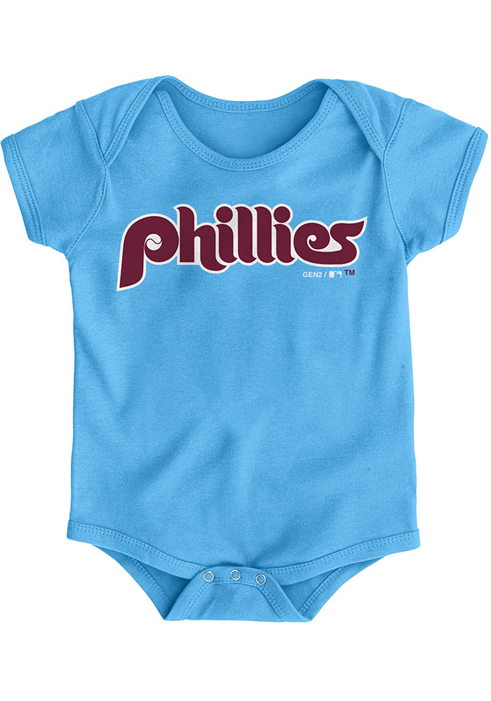 the latest 1a42f 5085c Philadelphia Phillies Baby Light Blue Road Wordmark Short Sleeve One Piece
