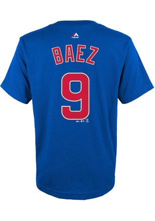 Javier Baez Outer Stuff Chicago Cubs Youth Name and Number Blue Player Tee