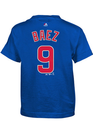 Javier Baez Chicago Cubs Boys Blue Name and Number T-Shirt