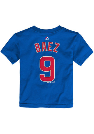 Javier Baez Chicago Cubs Toddler Blue Name and Number Player Tee