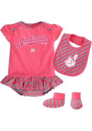 Cleveland Indians Baby Pink Pennant Creeper with Bib