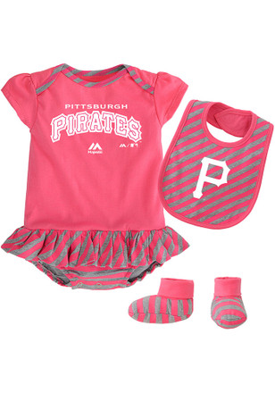 Pitt Pirates Baby Pink Pennant Creeper with Bib
