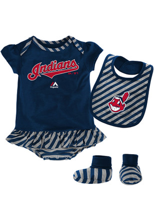 Cleveland Indians Baby Navy Blue Pennant Creeper with Bib