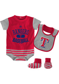 Texas Rangers Baby Red Baseball Property One Piece with Bib