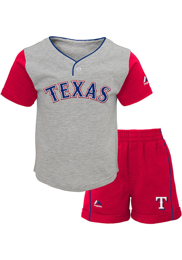 Texas Rangers Toddler Grey Batting Practice Set Top and Bottom - Image 1