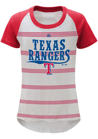Texas Rangers Girls White Pin Stripes T-Shirt