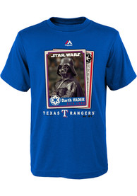 Texas Rangers Youth Blue Star Wars Darth Vader Baseball Card T-Shirt