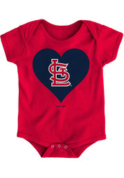 St Louis Cardinals Baby Red Heart One Piece