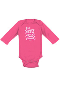 St Louis Cardinals Baby Pink Secondary LS One Piece