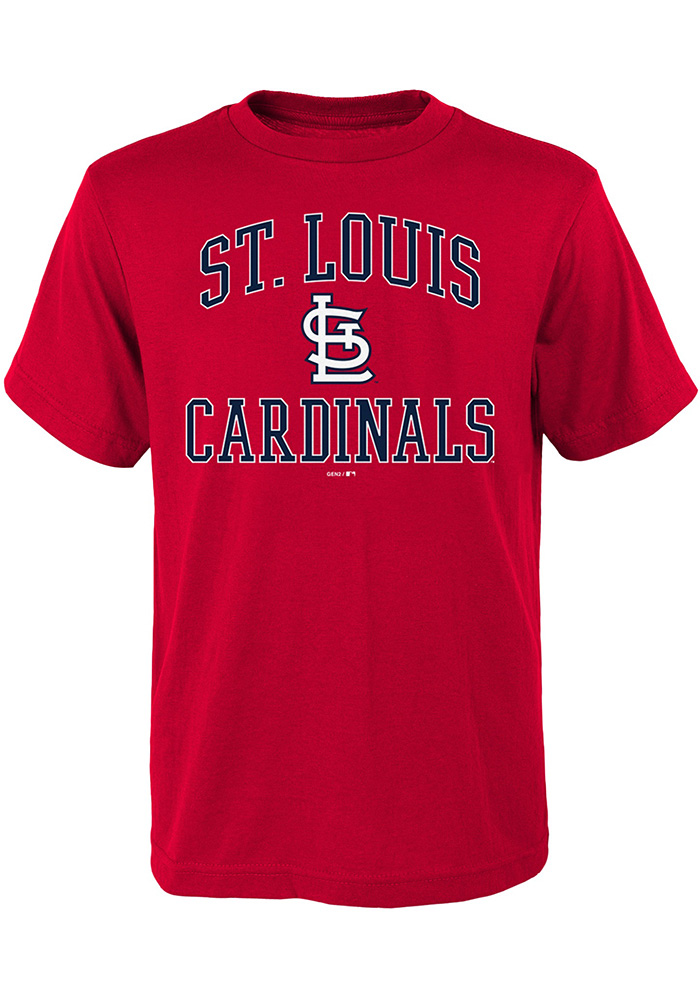 St Louis Cardinals Youth Red #1 Design Short Sleeve T-Shirt - Image 1