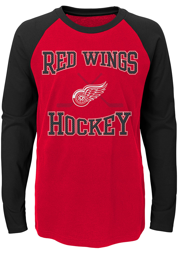 Detroit Red Wings Youth Red Morning Skate Long Sleeve Fashion T-Shirt - Image 1
