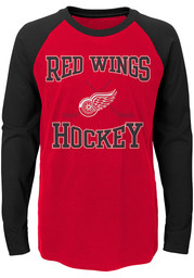 Detroit Red Wings Youth Red Morning Skate Long Sleeve Fashion T-Shirt