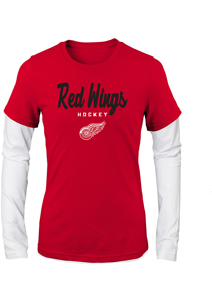 Detroit Red Wings Girls Red Fan Essentials Long Sleeve T-shirt, Red, 100% COTTON JERSEY, Size XL