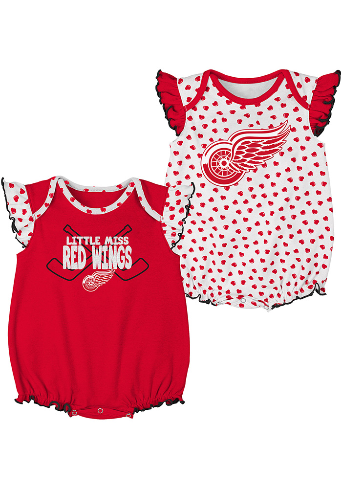 Detroit Red Wings Baby Red Hockey Hearts Set One Piece - Image 1