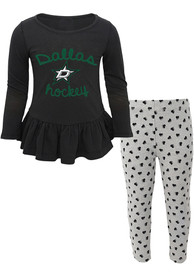 Dallas Stars Toddler Girls Puck Drop Top and Bottom - Black