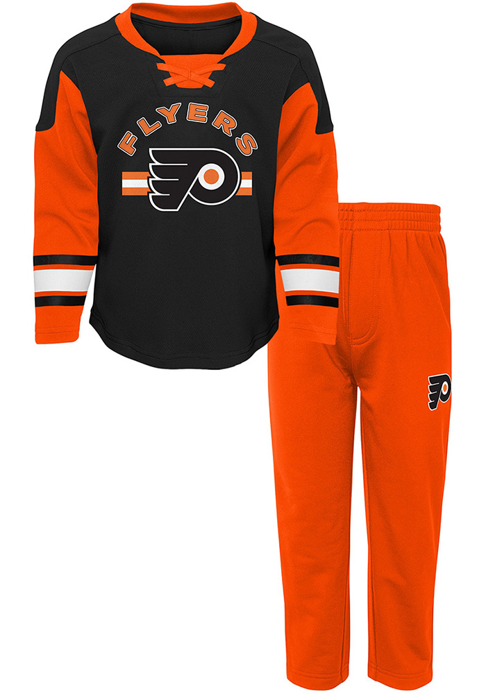 Philadelphia Flyers Toddler Orange Rink Rat Set Top and Bottom - Image 1