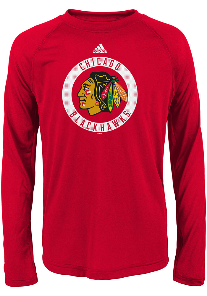 Chicago Blackhawks Youth Red Practice Graphic Long Sleeve T-Shirt - Image 1