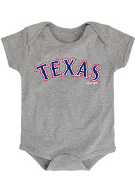 Texas Rangers Baby Grey Road Wordmark One Piece